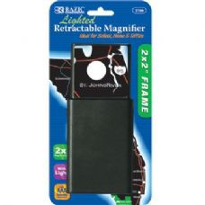 "144 Units of BAZIC 2"" X 2"" Retractable 2x Lighted Magnifier - Magnifying  Glasses"
