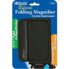"144 Units of BAZIC 2"" X 4"" Folding 2x Magnifier & 4x Bifocal Inset w/ Protective Pouch - Magnifying  Glasses"