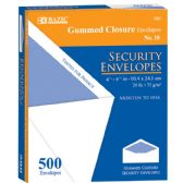 5 Units of BAZIC #10 Security Envelope w/ Gummed Closure (500/Box) - Envelopes