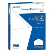 10 Units of BAZIC #10 White Envelope w/ Gummed Closure (500/Box) - Envelopes