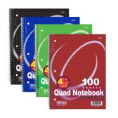 "48 Units of BAZIC 100 Ct. Quad-Ruled 4-1"" Spiral Notebook - Notebooks"