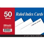 "36 Units of BAZIC 50 Ct. 4"" X 6"" Ruled White Index Card - Labels ,Cards and Index Cards"