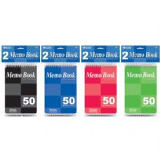 "72 Units of BAZIC 50 Ct. 4"" X 6"" Top Bound Spiral Memo Books (2/Pack) - Notebooks"