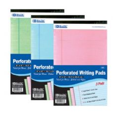 "48 Units of BAZIC 50 Ct. 5"" X 8"" Multi Color Jr. Perforated Writing Pad (3/Pack) - Notebooks"