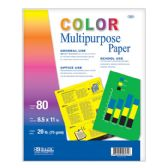 100 Units of BAZIC 80 Ct. Multi Color Multipurpose Paper - Paper