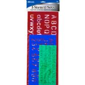 144 Units of BAZIC 10, 17, 20mm Size Lettering Stensil Sets (3/Pack) - Rulers