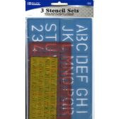 144 Units of BAZIC 10, 17, 27mm Size Lettering Stencil Sets (3/Pk) - Rulers