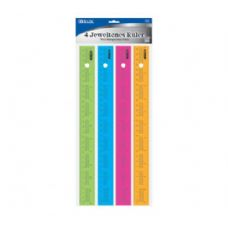 "288 Units of BAZIC 12"" (30cm) Ruler w/ Multiplication Prints (4/Pack) - Rulers"