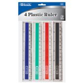 "288 Units of BAZIC 6"" (15cm) Plastic Ruler (4/Pack) - Rulers"