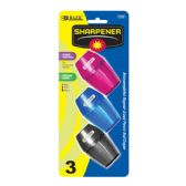 144 Units of BAZIC Single Hole Sharpener w/ Receptacle (3/pack) - Sharpeners