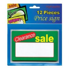 "24 Units of 5.5"" X 3.5"" Clearance Sale Price Sign (12/Pack) - SIGNS"