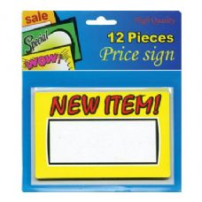 "24 Units of 5.5"" X 3.5"" New Item Price Sign (12/Pack) - Signs & Flags"
