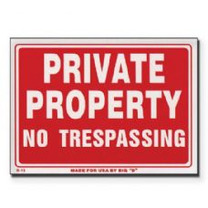 "144 Units of 9"" X 12"" Private Property No Trespassing Sign - Signs & Flags"