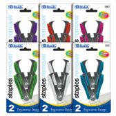 144 Units of BAZIC Bright Color Ergonomic Claw Style Staples Remover (2/Pack) - Staples and Staplers