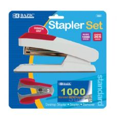 72 Units of BAZIC Comfort Grip Desktop Stapler Set - Staples and Staplers