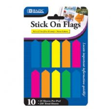 "144 Units of BAZIC 25 Ct. 0.5"" X 1.7"" Neon Color Arrow Flags (10/Pack) - Dry Erase"