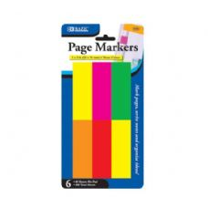 "144 Units of BAZIC 80 Ct. 1"" X 3"" Neon Page Markers (6/Pack) - Dry Erase"
