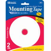 """144 Units of BAZIC 0.5"""" X 200"""" Double Sided Foam Mounting Tape (2/Pack) - Tape"""
