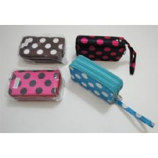 144 Units of 3 Compartment Wallet-Polka Dots - Leather Purses and Handbags