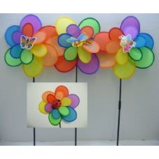 "120 Units of 15"" Double Wind Spinner-Rainbow Petals [Bee/Bugs] - Wind Spinners"