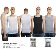 216 Units of Mens 3 Pair Pack Tank Top WHITE ONLY - Mens Undershirts