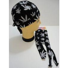 144 Units of Skull Cap-Black with White Marijuana Leaves - Bandanas