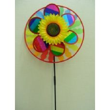 "120 Units of 13.5"" Round Wind Spinner with Sunflower {Scalloped} - Wind Spinners"