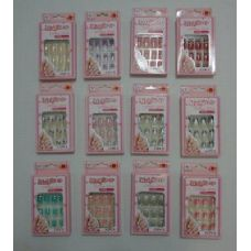 144 Units of Decorated Artificial Nails with Rhinestones [Office Girls] - Nail Polish