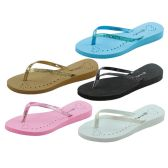36 Units of Womans Heart And Glitter Design Flip Flops Assorted Colors