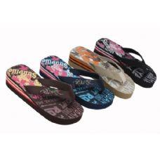 36 Units of Womans Wedge Flip Flop Assorted Prints - Women's Sandals