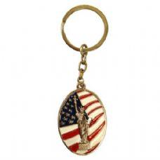72 Units of Keychain Liberty Flag Oval - Key Chains