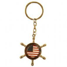 12 Units of Keychain USA Flag Helm - Key Chains