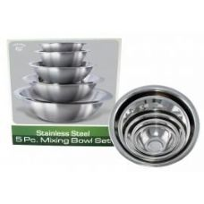 12 Units of 5pc Stainless Steel Mixing Bowl Set - Baking Supplies