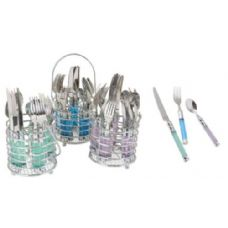 12 Units of 20 Pc. Flatware Set W/Round Chrome Caddy (Assorted Colors - Stainless Steel Cutlery Sets