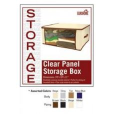 36 Units of  CLEAR PANEL STORAGE BOX -4 ASSORTED COLORS - Storage Holders and Organizers