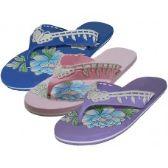 Wholesale 48 Units of Women's Floral Print Flip Flops