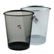 12 Units of Round Mesh Waste Bin Assorted Black And Silver - Waste Basket
