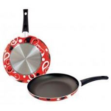 8 Units of 11inch Designer Fry Pan - Red Paisley - Pots & Pans