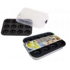 12 Units of 12 Cup Muffin Pan With Plastic lid - Pots & Pans