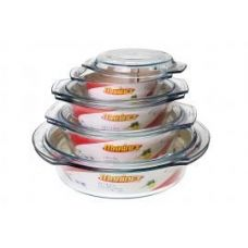 6 Units of Marinex Round Glass Tureen w/ Lid - 1.9 Qt. - Glassware