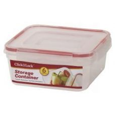 24 Units of 6 Piece Square Plastic Container with Click And Lock Lids - Food Storage Bags & Containers