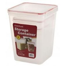 6 Units of 6 Piece Square Plastic Assorted Container with Click And Lock Lids - Food Storage Bags & Containers