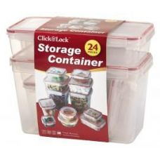6 Units of 24 Piece Plastic Container with Click And Lock Lids Assorted Sizes - Food Storage Bags & Containers