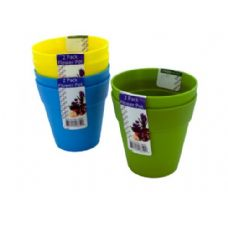 72 Units of Plastic flower pots, 2 pack, assorted colors - Garden Planters and Pots