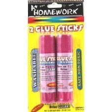48 Units of Puple Glue Stick -Washable .50 oz ea- 2 pack - Glue Office and School