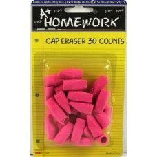 48 Units of Erasers- Cap-- Pink Color - 30 pack - Erasers