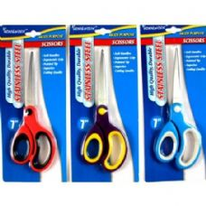 "48 Units of Scissor- 7""- Pointed Tip - Soft Grip - Asst. Colors - Scissors"