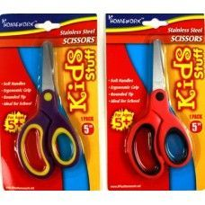 "48 Units of School Scissor- 5""- Soft Grip Blunt Tip - Asst Colors - Scissors"