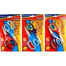 "48 Units of School Scissors 2 Pack - 5"" Soft Grip Blunt+Pointed - Scissors"