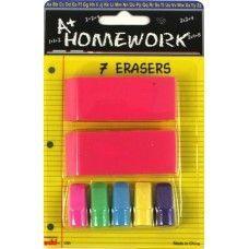 48 Units of Erasers 7 pk- 2 Beveled Pink +5 cap Asst colors - Erasers